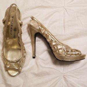 💛Gold Peep Toe Heels